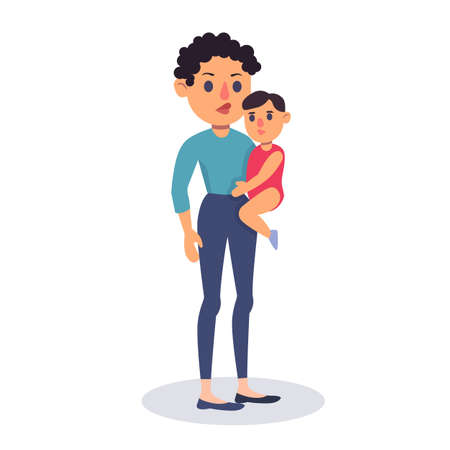 Illustration for Mother holding Child baby. Colorful flat design vector illustration. A woman carrying a child. Happy Mother's Day - Royalty Free Image