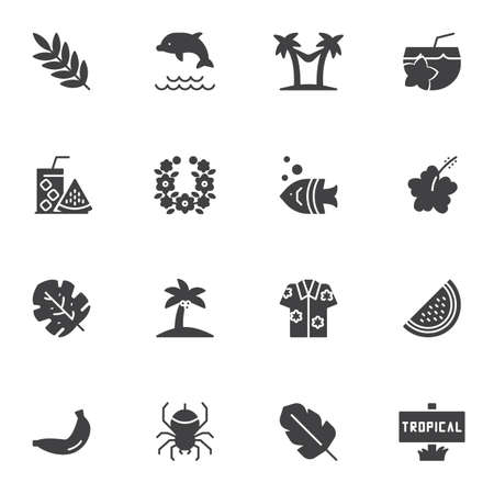 Illustration for Tropical vacation vector icons set, modern solid symbol collection, filled style pictogram pack. Signs, logo illustration. Set includes icons as palm tree beach, fresh lemonade, watermelon, cocktail - Royalty Free Image