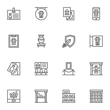 Illustration pour Ancient museum gallery vector icons set, modern solid symbol collection, filled style pictogram pack. Signs, logo illustration. Set includes icons as medieval exhibits, museum display, amphora vase - image libre de droit