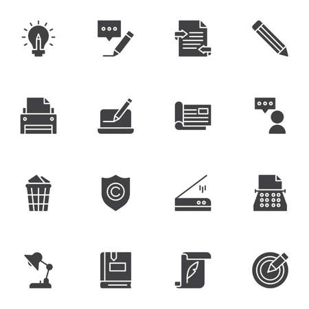 Illustration for Copywriting related vector icons set, modern solid symbol collection, filled style pictogram pack. Signs, logo illustration. Set includes icons as message writing, typewriter machine, printer, book - Royalty Free Image