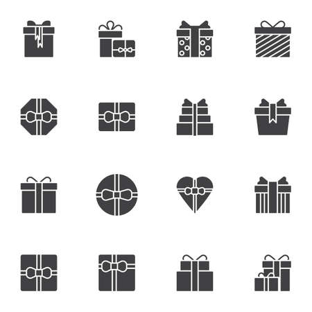 Illustration pour Gifts vector icons set, modern solid symbol collection, filled style pictogram pack. Signs, logo illustration. Set includes icons as gift box with bow ribbon , birthday cake, heart shaped box - image libre de droit