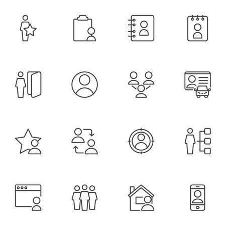 Illustration for User contact line icons set, outline vector symbol collection, linear style pictogram pack. Signs, logo illustration. Set includes icons as contact address book, driver license, people group, friends - Royalty Free Image