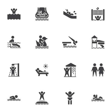 Illustration for Water park vector icons set, aqua park modern solid symbol collection, filled style pictogram pack. Signs,   illustration. Set includes icons as swimming pool, shower, water slide attraction - Royalty Free Image