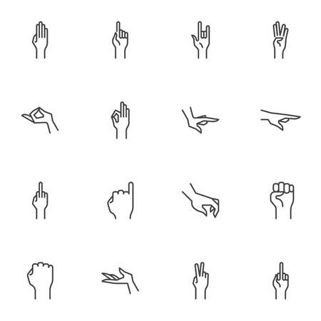 Illustration pour Human hand gestures line icons set, outline vector symbol collection, linear style pictogram pack. Signs, logo illustration. Set includes icons as arm fist up, hand ok sign, one finger pointing, palm - image libre de droit