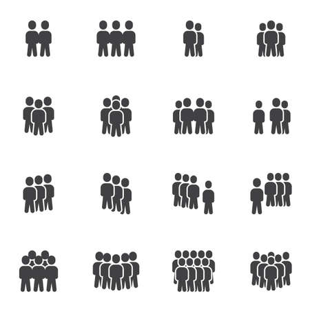 Illustration pour Crowd of people vector icons set, modern solid symbol collection, filled style pictogram pack. Signs, logo illustration. Set includes icons as business teamwork people group community, office employee - image libre de droit