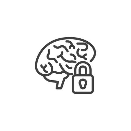 Illustration pour Brain lock line icon - image libre de droit