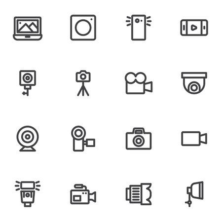 Illustration pour Photography and video line icons set - image libre de droit