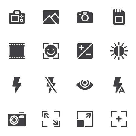 Illustration for Camera settings vector icons set - Royalty Free Image