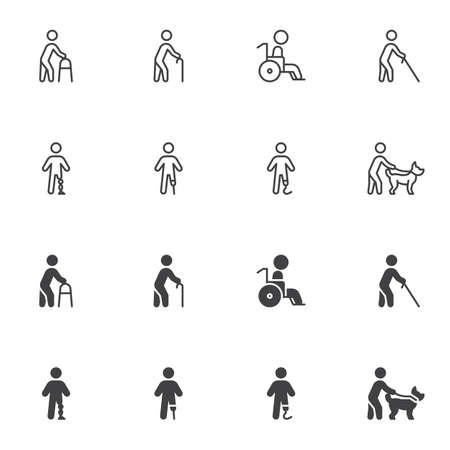 Illustration for Disabled people icon set - Royalty Free Image