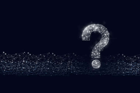 Photo for Question mark hologram on cyber dark blue background - Royalty Free Image