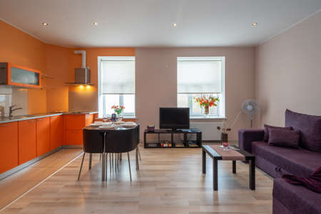 Photo pour Studio apartment with furniture. Kitchen set. Served table. - image libre de droit