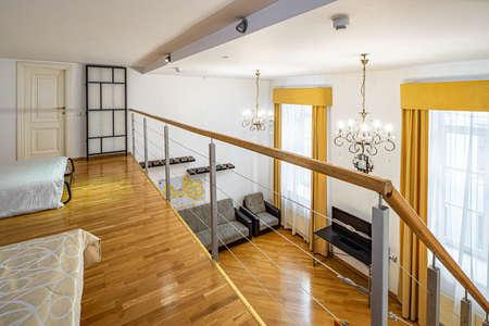 Foto de Modern interior of private house. View of living room from the second floor. - Imagen libre de derechos