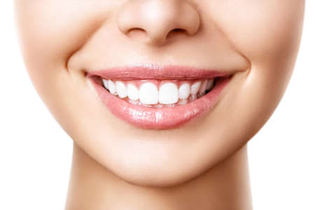 Photo for Beautiful female smile after teeth whitening procedure. Dental care. Dentistry concept. - Royalty Free Image