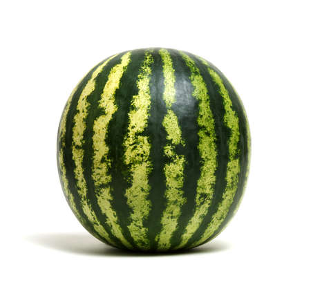 Photo for Ripe striped watermelon isolated on white - Royalty Free Image