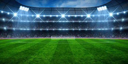 Photo pour Green soccer stadium, illuminated field, arena in night - image libre de droit