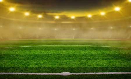 Photo for Soccer stadium with illumination, green grass and night  blurred sky - Royalty Free Image