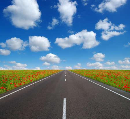 Foto für Asphalt car road and clouds on blue sky in summer day - Lizenzfreies Bild