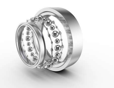 Photo pour ball bearing parts isolated on white background  3d render - image libre de droit
