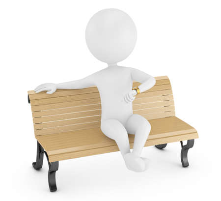 Photo for 3d man sitting on a bench and looking at  watch isolated on white  - Royalty Free Image