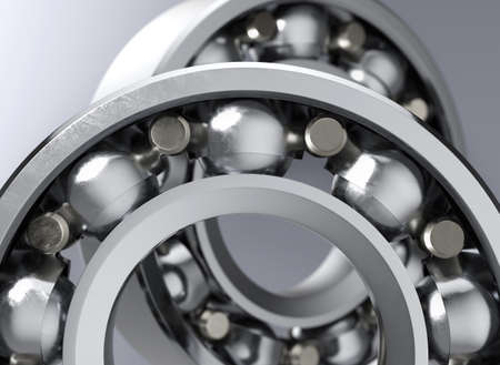 Photo pour Closeup of ball bearing part on grey background with DOF. 3d render. - image libre de droit