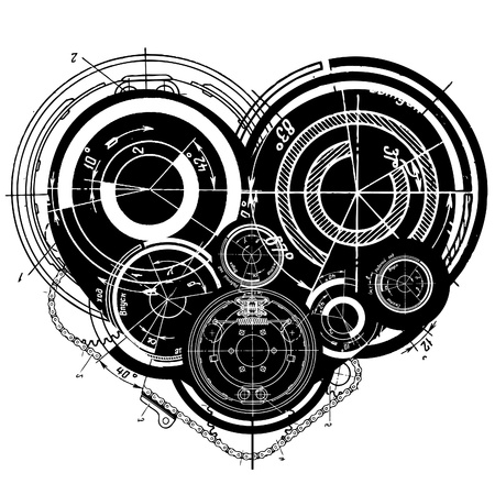 art illustration of heart with many mechanisms