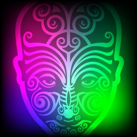 maori face tattoo on colorful background