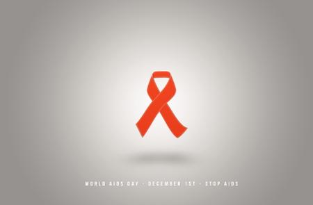 AIDS awarness red ribbon poster title message. HIV simbol