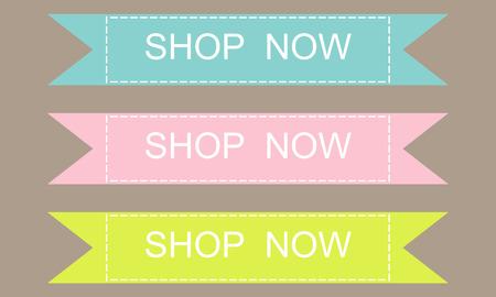 Illustration pour Shop now banner design set over a grey background - image libre de droit