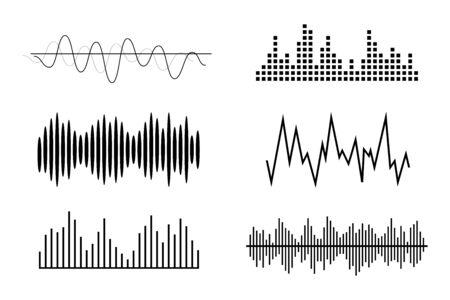 Illustration pour Sound waves, volume diagrams. Noise level charts, radio waves. - image libre de droit