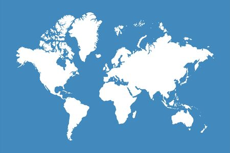 Illustration for World map. World map with continents, North and South America, Europe, Asia, Africa and Australia on blue background. Vector - Royalty Free Image