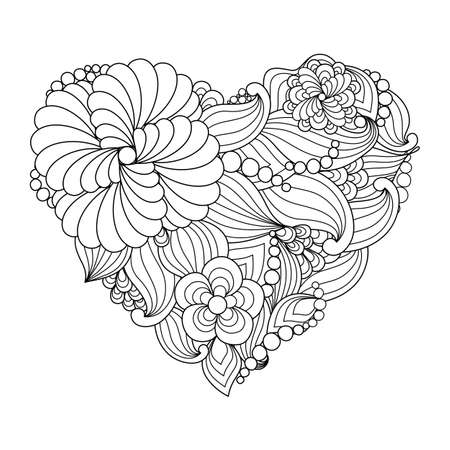 Illustration pour The drawn heart with flowers and plants for Valentine's Day or weddings. Vector natural element in trendy doodle style for holiday. - image libre de droit