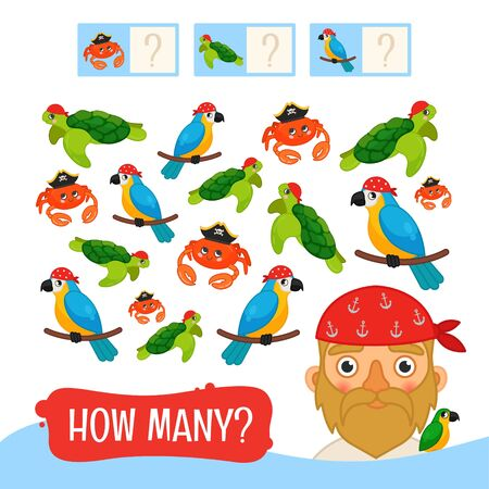 Illustration for Counting educational children game, math kids activity sheet. How many objects task. Pirates collection. Cartoon illustration of cute pirate. - Royalty Free Image