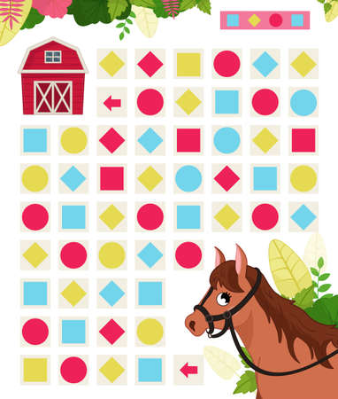 Illustration for Maze game for children. Farm animals collection. Help the horse to find the farm. - Royalty Free Image