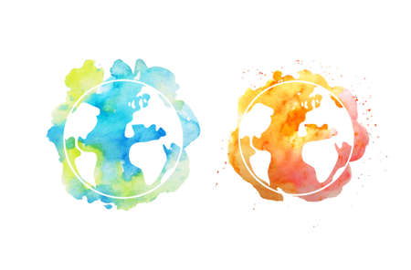 Ilustración de Earth day illustration with hand drawn watercolor planets. - Imagen libre de derechos