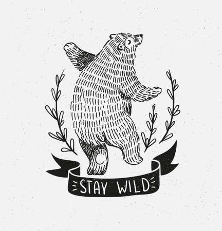 Ilustración de Hand drawn dancing bear. Vector sketch illustration with stylish lettering stay wild - Imagen libre de derechos