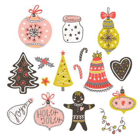 Illustration pour Toy balls, bow, gingerbread man, tree, heart and heart. Vector illustration. - image libre de droit