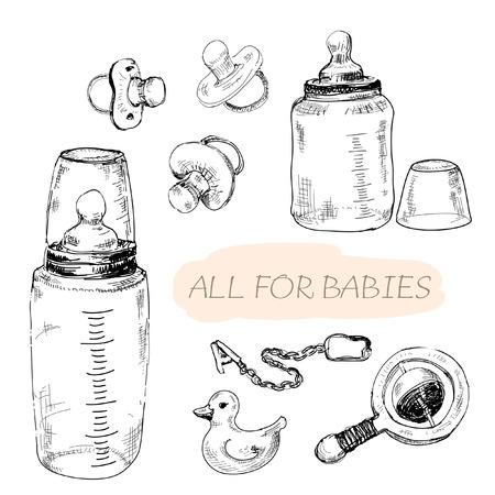Photo pour All for babies. Set of hand drawn illustrations - image libre de droit