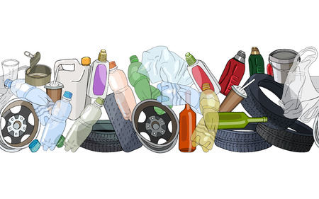 Illustration for Different kinds of garbage. Seamless pattern brush. - Royalty Free Image