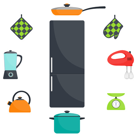 Kitchen utensils and appliances, set. Fridge, frying pan, saucepan, kettle, mixer, blender scales oven mitts Vector flat illustration