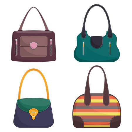 Illustration pour Collection of stylish colorful leather handbags with white stitching. Woman bag. Ladies handbags isolated on white background. Fashion accessories. Vector illustration in flat style.. - image libre de droit