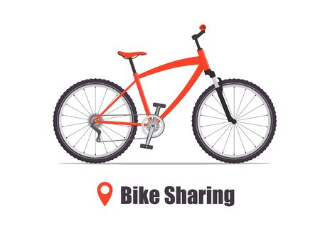 Illustration pour Modern city or mountain bicycle for bike sharing service. Multi-speed sport bicycle for adults. Bike sharing concept illustration, vector - image libre de droit