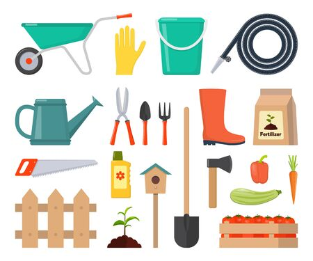 Illustration for Colorful vector set of garden icons: garden tools, equipment, planting process, harvest. Flat style vector ollustration - Royalty Free Image