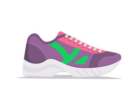 Illustration for Modern trendy sneakers, side view. Fashion sneakers. Comfortable sports shoes. Vector illustration in flat style - Royalty Free Image