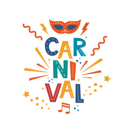 Illustration for Carnival hand drawn lettering for poster, logo, invitation card, banner. Carnival poster with colorful party elements. Mask, confetti, stars and splashes. Festival concept design. Vector illustration - Royalty Free Image