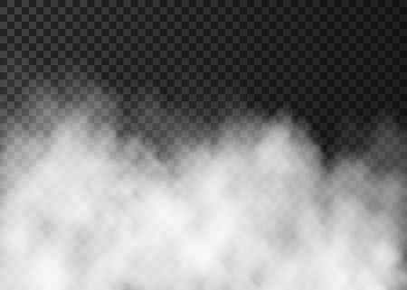 Illustration pour White fog isolated on dark transparent background.  Steam special effect.  Realistic  fire smoke  or mist  vector texture . - image libre de droit