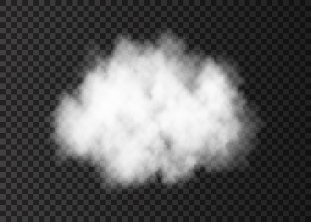 Illustration pour White  smoke cloud  isolated on transparent background.  Steam explosion special effect.  Realistic  vector   fire fog or mist texture .  - image libre de droit