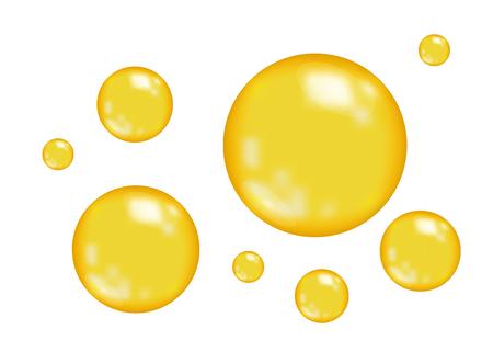 Vektor für Realistic  glossy gold  bubbles   isolated on white  background. Oil drop. Golden sphere. Vector  texture. - Lizenzfreies Bild