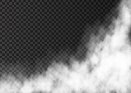 Illustration pour White steam isolated on transparent background. Fog special effect. Realistic vector fire smoke or mist texture . - image libre de droit