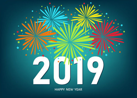 Ilustración de 2019 Happy New Year greeting card on blue background with colorful fireworks. Vector design template. - Imagen libre de derechos