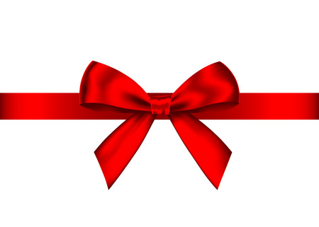 Illustration pour Red realistic gift bow with horizontal  ribbon isolated on white background. Vector holiday design element  for banner, greeting card, poster. - image libre de droit